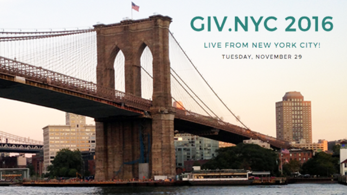 Photo of a bridge in NYC and the words Live Giv dot NYC 2016. Live from New York City Tuesday, November, 29