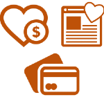 Illustration of a heart with dollar sign, webpage with a heart, and another of a credit card