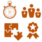 Illustration of watch, puzzle pieces, ribbon with a star, and 3 generic people