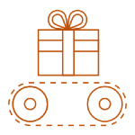 Illustration of a present on a conveyor belt