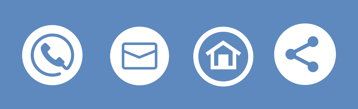 Phone, envelope, house, share icon