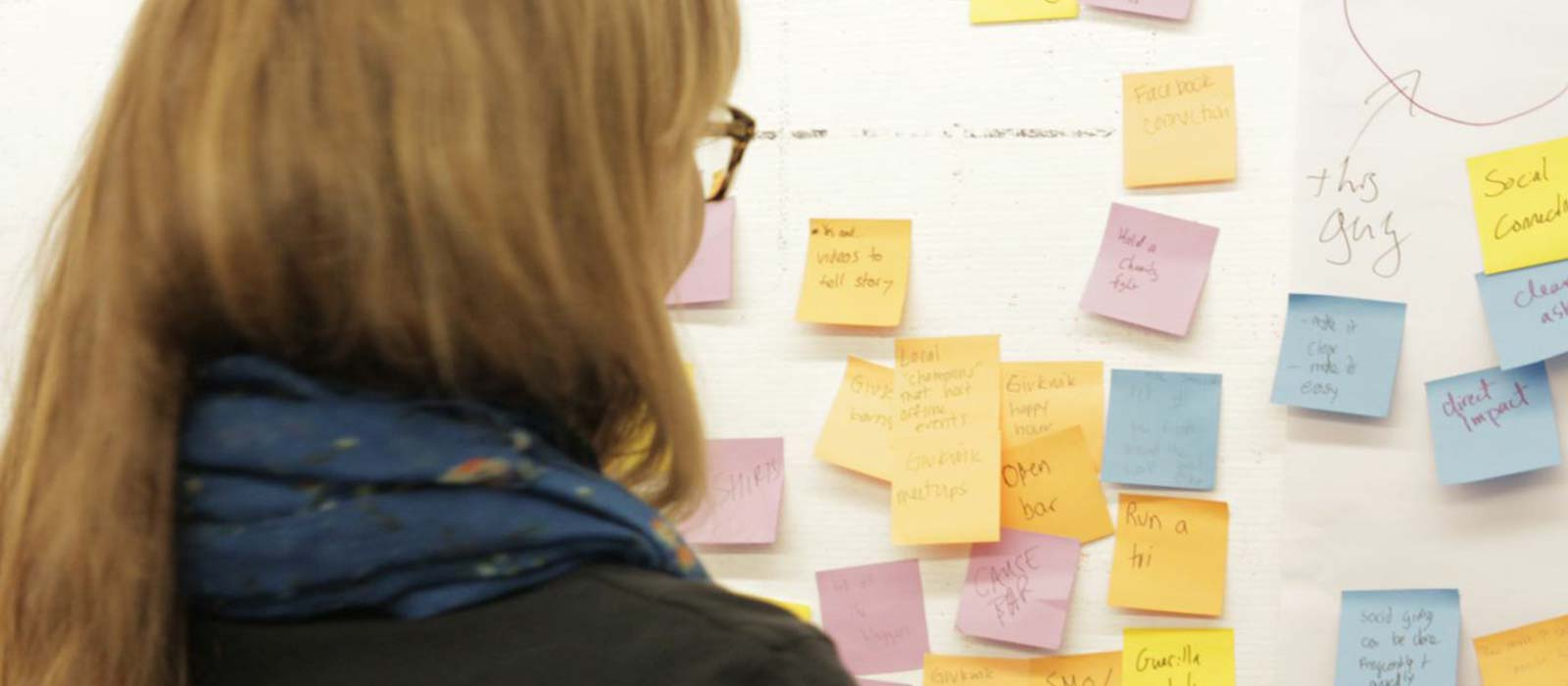 Woman looking at board with Post Its