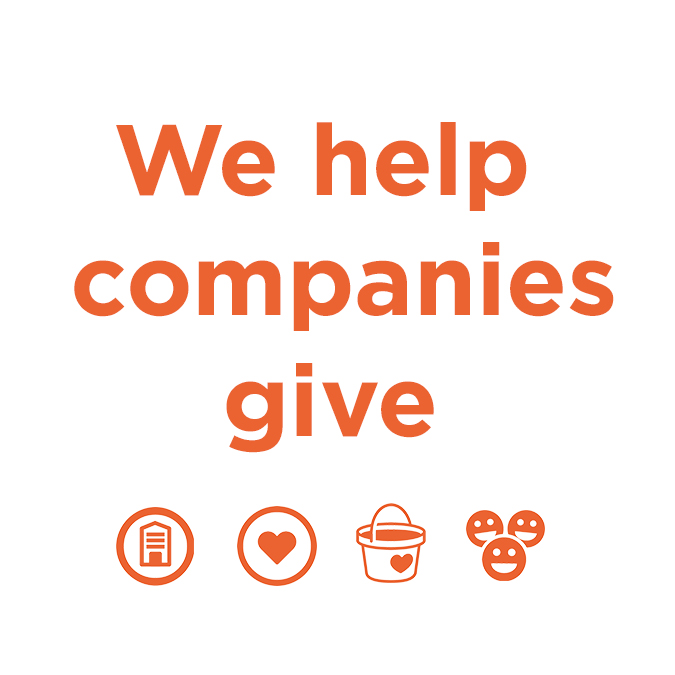 Banner illustrating GivKwik's service offering, we help companies give. With icons of a building representing a company, a heart representing help, a bucket with a heart on it representing giving, and a collection of three happy faces.