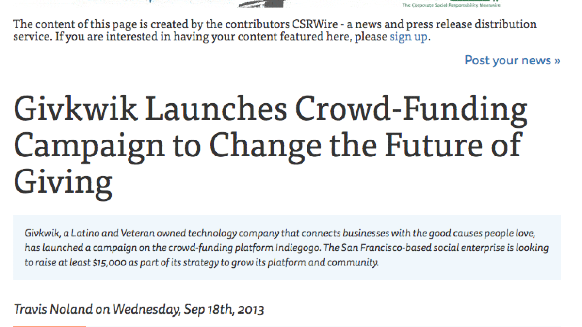Screenshot of headline: Give Kwik launches crowd-funding campaign to change the future of giving