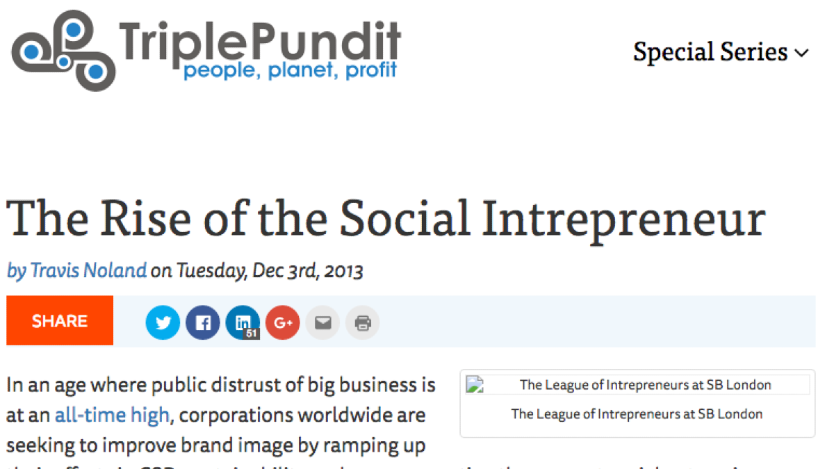 Screenshot of Triple Pundit article titled The rise of the social entrepreneur