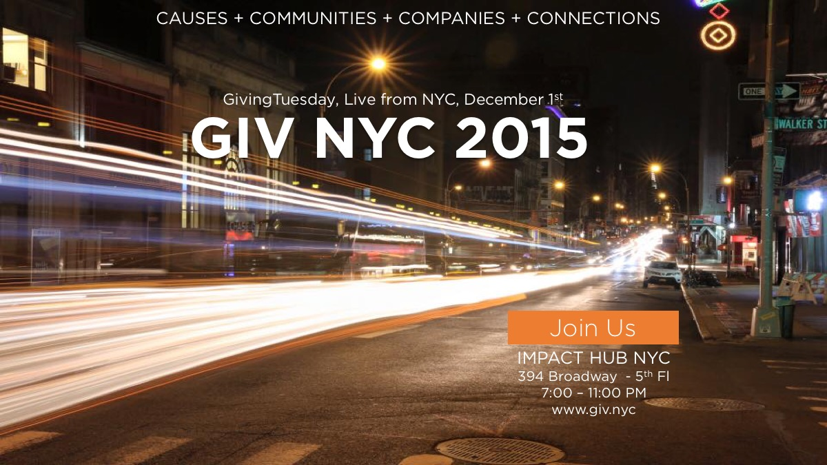 Banner with image of city street and the words Giving Tuesday, Live from NYC, December 1, 2015