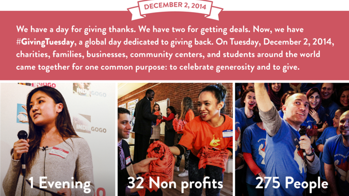 Indiegogo givkwik pilot givingtuesday event in nyc for 10 rockefeller plaza 4th floor new york ny 10020