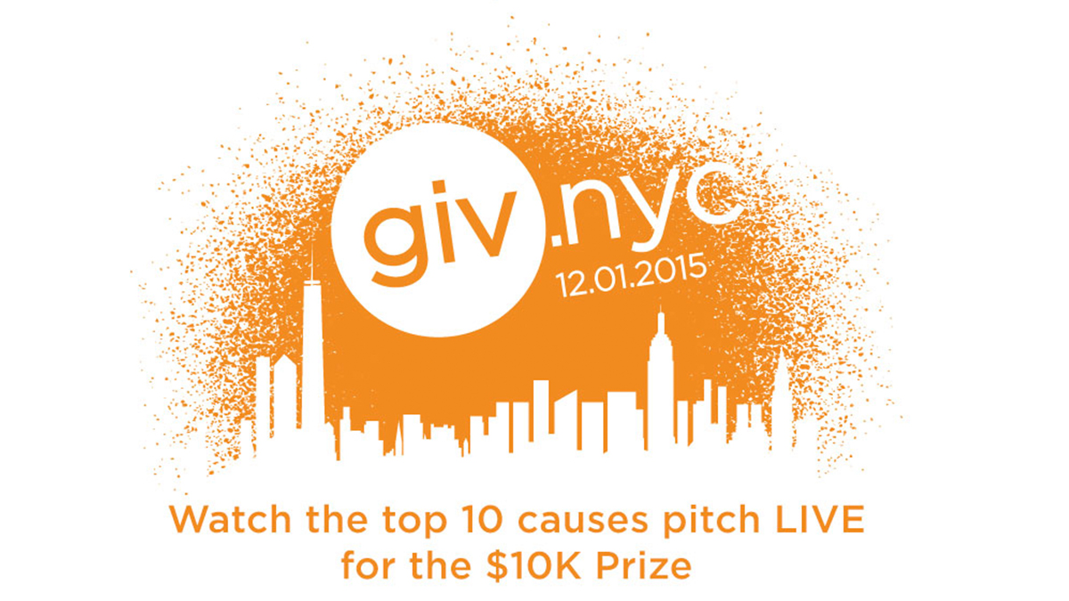 Banner announcing Give NYC 2015 with the words Watch the top 10 causes pitch live for the $10,000 prize