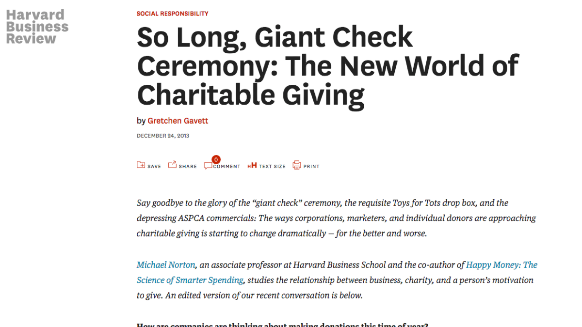Screenshot of Harvard Business Review article titled So long, giant check ceremony: the new world of charitable giving