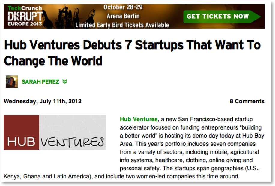 Screenshot of article titled Hub Ventures debuts 7 startups that want to change the world