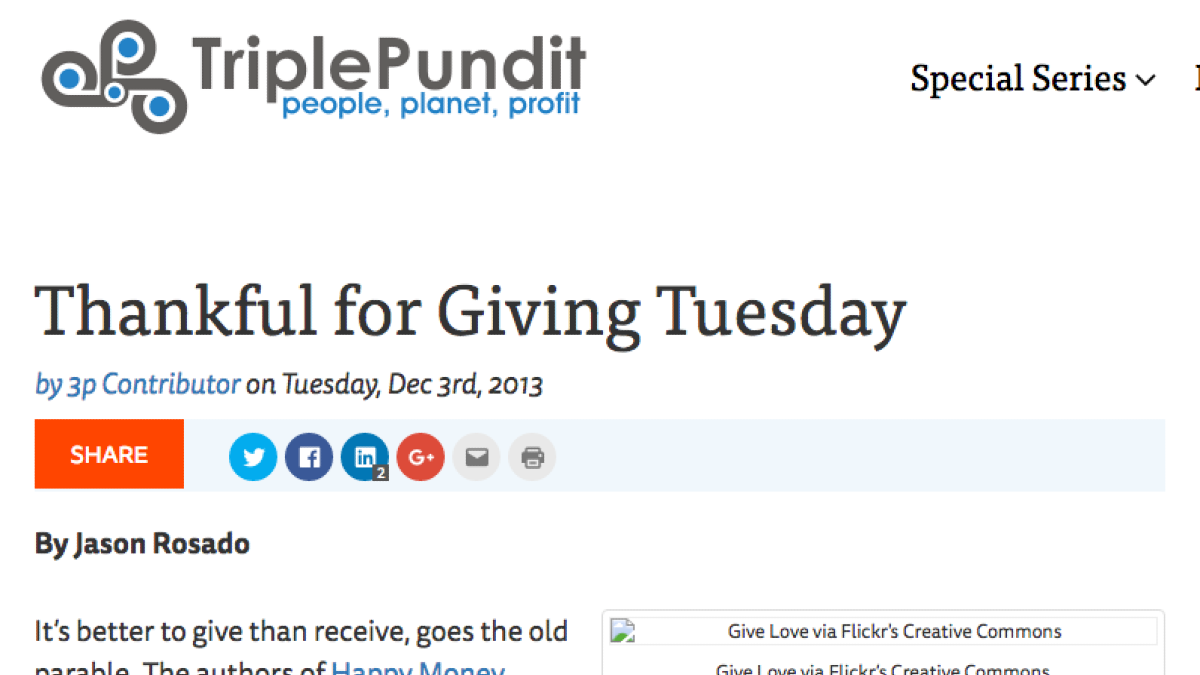Screenshot of the Triple Pundit article titled Thankful for giving Tuesday