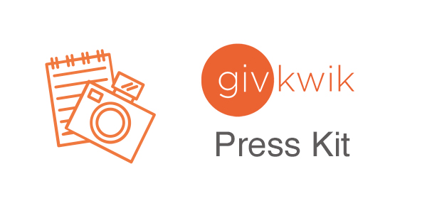 Icon of notebook and camera, givkwik logo, and the words press kit